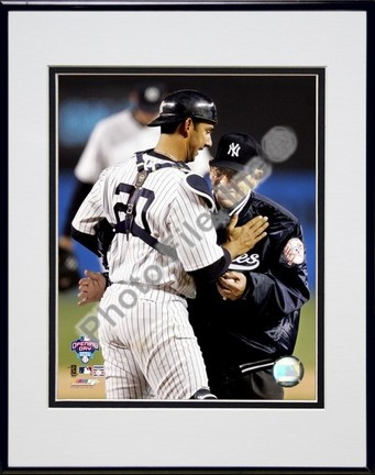 Jorge Posada and Yogi Berra 2005 Opening Day Double Matted 8 X 10 Photograph in Black Anodized Aluminum Frame