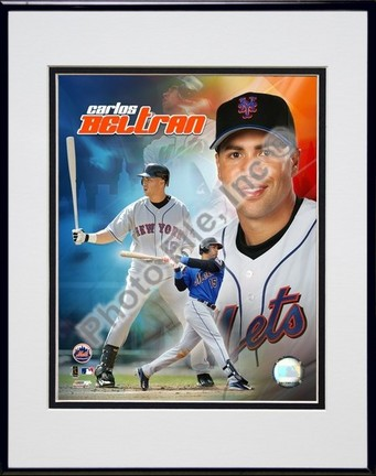 Carlos Beltran 2005 Composite Double Matted 8 X 10 Photograph in Black Anodized Aluminum Frame