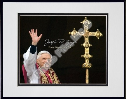 """Pope Benedict XVI """"Cross"""" Double Matted 8"""" X 10"""" Photograph in Black Anodized Aluminum Frame"""