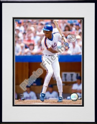 Darryl Strawberry Batting Action Double Matted 8 X 10 Photograph in Black Anodized Aluminum Frame