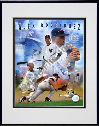 Alex Rodriguez 2005 Composite Double Matted 8 X 10 Photograph in Black Anodized Aluminum Frame