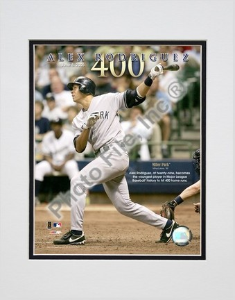 Alex Rodriguez 6805 400th Career Home Run Double Matted 8 X 10 Photograph Unframed