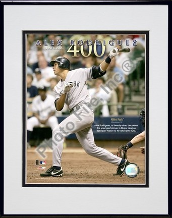 """Alex Rodriguez """"6/8/05 400th Career Home Run"""" Double Matted 8"""" X 10"""" Photograph in Black Anodized Al"""