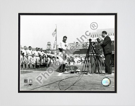 Lou Gehrig Farewell Horizontal Double Matted 8 X 10 Photograph Unframed