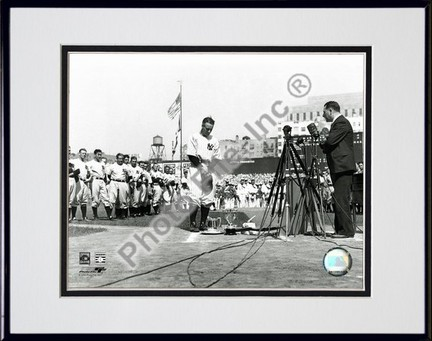 Lou Gehrig Farewell Horizontal Double Matted 8 X 10 Photograph in Black Anodized Aluminum Frame