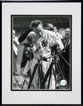 Lou Gehrig Farewell #2 Vertical Double Matted 8 X 10 Photograph in Black Anodized Aluminum Frame