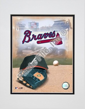 Atlanta Braves 2005 Logo  Cap and Glove Double Matted 8 X 10 Photograph Unframed