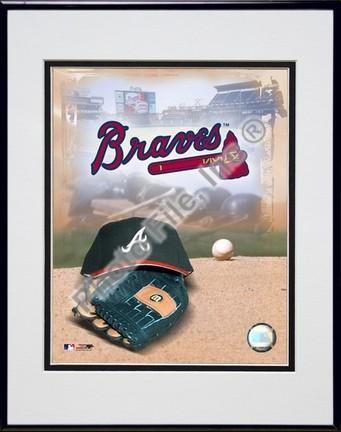 Atlanta Braves 2005 Logo  Cap and Glove Double Matted 8 X 10 Photograph in Black Anodized Aluminum Frame