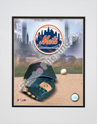 New York Mets 2005 Logo  Cap and Glove Double Matted 8 X 10 Photograph Unframed