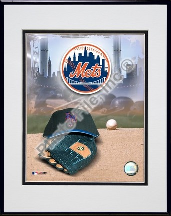 New York Mets 2005 Logo  Cap and Glove Double Matted 8 X 10 Photograph in Black Anodized Aluminum Frame