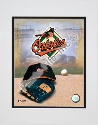 """Baltimore Orioles """"2005 Logo / Cap and Glove"""" Double Matted 8"""" X 10"""" Photograph (Unframed)"""