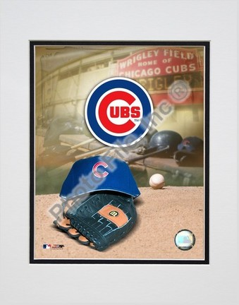Chicago Cubs 2005 Logo  Cap and Glove Double Matted 8 X 10 Photograph Unframed