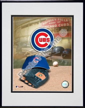 Chicago Cubs 2005 Logo  Cap and Glove Double Matted 8 X 10 Photograph in Black Anodized Aluminum Frame