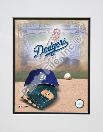 Los Angeles Dodgers 2005 Logo  Cap and Glove Double Matted 8 X 10 Photograph Unframed