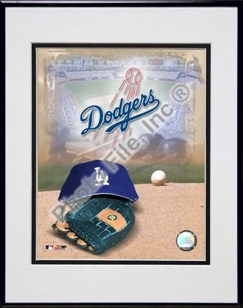 Los Angeles Dodgers 2005 Logo  Cap and Glove Double Matted 8 X 10 Photograph in Black Anodized Aluminum Frame