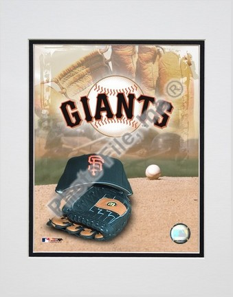 San Francisco Giants 2005 Logo  Cap and Glove Double Matted 8 X 10 Photograph Unframed