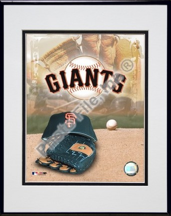 San Francisco Giants 2005 Logo  Cap and Glove Double Matted 8 X 10 Photograph in Black Anodized Aluminum Frame
