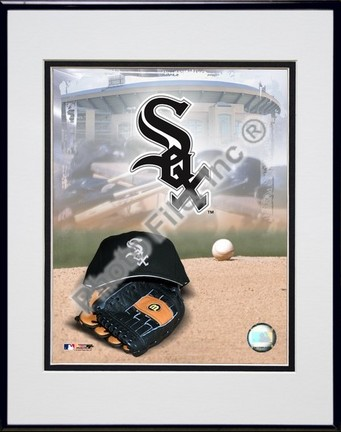 Chicago White Sox 2005 Logo  Cap and Glove Double Matted 8 X 10 Photograph in Black Anodized Aluminum Frame