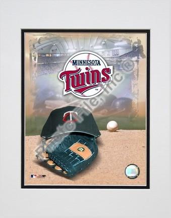 Minnesota Twins 2005 Logo  Cap and Glove Double Matted 8 X 10 Photograph Unframed