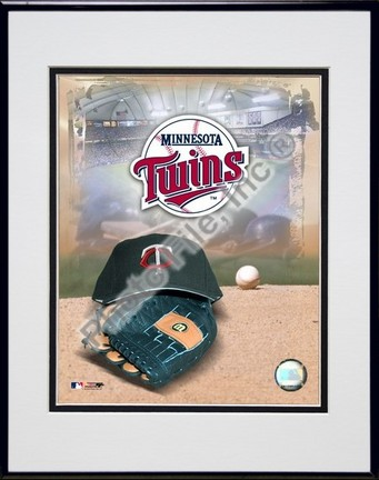 Minnesota Twins 2005 Logo  Cap and Glove Double Matted 8 X 10 Photograph in Black Anodized Aluminum Frame