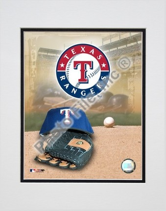 Texas Rangers 2005 Logo  Cap and Glove Double Matted 8 X 10 Photograph Unframed