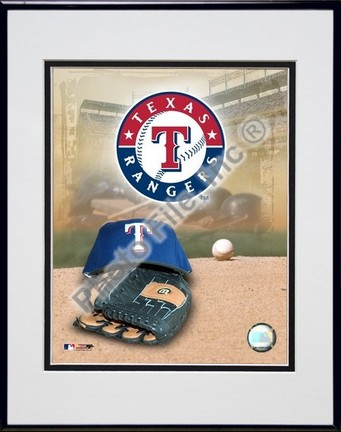 Texas Rangers 2005 Logo  Cap and Glove Double Matted 8 X 10 Photograph in Black Anodized Aluminum Frame