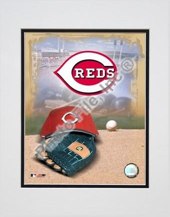 Cincinnati Reds 2005 Logo  Cap and Glove Double Matted 8 X 10 Photograph Unframed