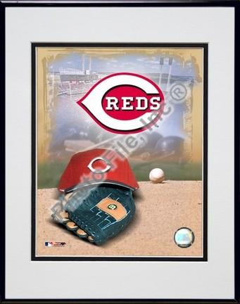 Cincinnati Reds 2005 Logo  Cap and Glove Double Matted 8 X 10 Photograph in Black Anodized Aluminum Frame