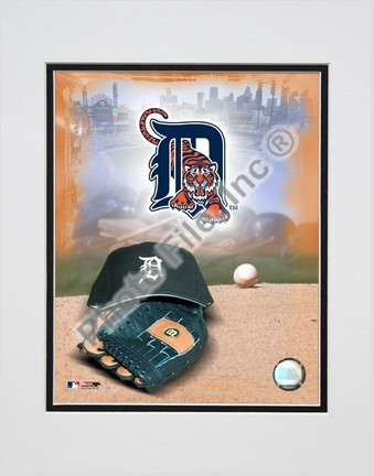 Detroit Tigers 2005 Logo  Cap and Glove Double Matted 8 X 10 Photograph Unframed