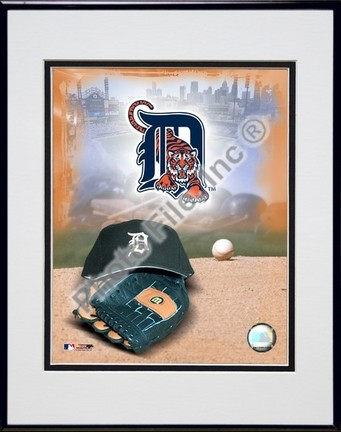 Detroit Tigers 2005 Logo  Cap and Glove Double Matted 8 X 10 Photograph in Black Anodized Aluminum Frame