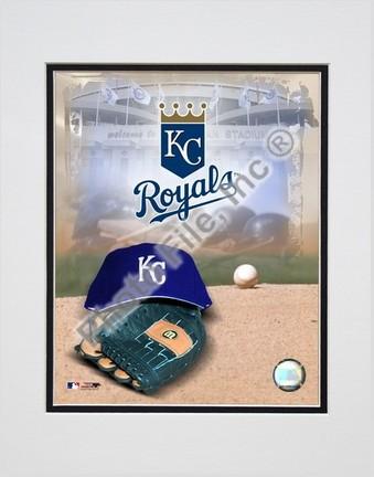 "Kansas City Royals ""2005 Logo / Cap and Glove"" Double Matted 8"" X 10"" Photograph (Unframed)"