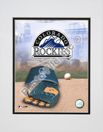 Colorado Rockies 2005 Logo  Cap and Glove Double Matted 8 X 10 Photograph Unframed