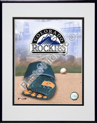 Colorado Rockies 2005 Logo  Cap and Glove Double Matted 8 X 10 Photograph in Black Anodized Aluminum Frame