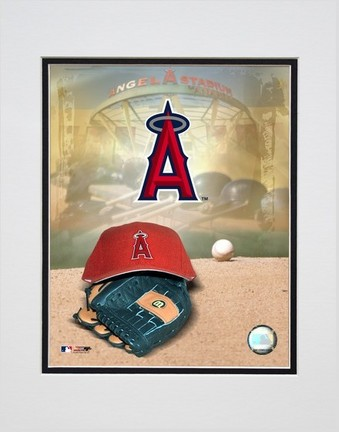 Los Angeles Angels of Anaheim 2005 Logo  Cap and Glove Double Matted 8 X 10 Photograph Unframed