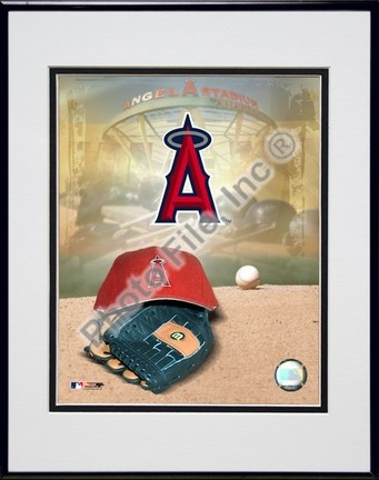 Los Angeles Angels of Anaheim 2005 Logo  Cap and Glove Double Matted 8 X 10 Photograph in Black Anodized Aluminum Frame