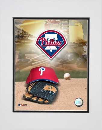 Philadelphia Phillies 2005 Logo  Cap and Glove Double Matted 8 X 10 Photograph Unframed