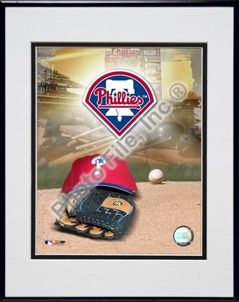 Philadelphia Phillies 2005 Logo  Cap and Glove Double Matted 8 X 10 Photograph in Black Anodized Aluminum Frame