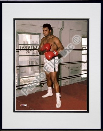"Muhammad Ali ""At The Gym #3"" Double Matted 8"" X 10"" Photograph in Black Anodized Aluminum Frame"