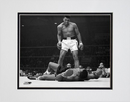 """Muhammad Ali """"1965 1st Round Knock Out Against Sonny Liston #5"""" Double Matted 8"""" X 10"""" Photograph (U"""