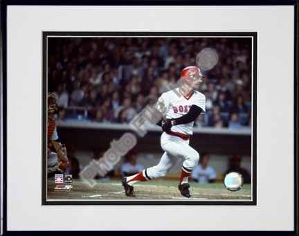 Carl Yastrzemski 2005 Bating Action Double Matted 8 X 10 Photograph in Black Anodized Aluminum Frame