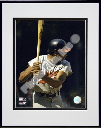 """Frank Robinson """"Batting Action"""" Double Matted 8"""" X 10"""" Photograph in Black Anodized Aluminum Frame"""