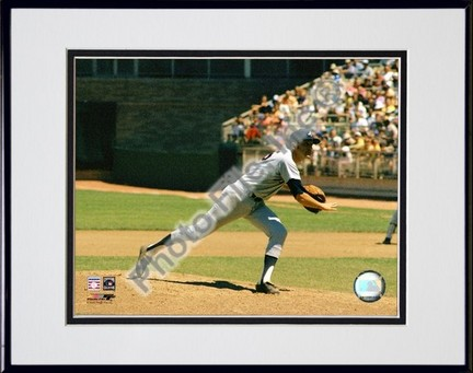 Phil Niekro Pitching Action  Horizontal Double Matted 8 X 10 Photograph in Black Anodized Aluminum Frame