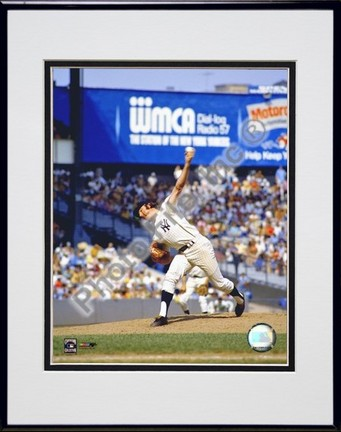 Sparky Lyle Pitching Action Double Matted 8 X 10 Photograph in Black Anodized Aluminum Frame
