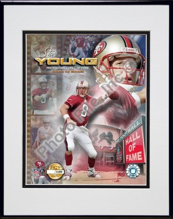 """Steve Young """"2005 Hall Of Fame Composite / Photo File Gold (Limited Edition)"""" Double Matted 8"""" X 10"""""""