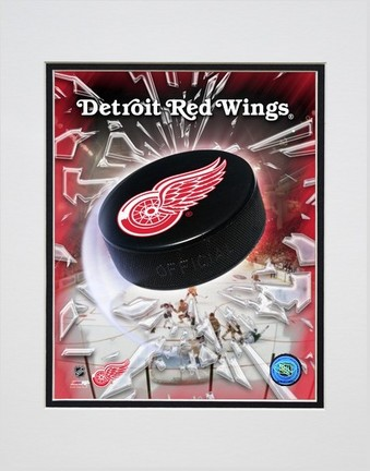 """Detroit Red Wings """"2005 Logo / Puck"""" Double Matted 8"""" X 10"""" Photograph (Unframed)"""