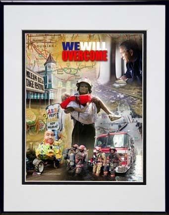 """We Will Overcome (Katrina Hurricane) Double Matted 8"""" x 10"""" Photograph in Black Anodized Aluminum Frame"""