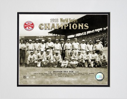 Boston Red Sox 1918 World Series Champions Double Matted 8 X 10 Photograph Unframed