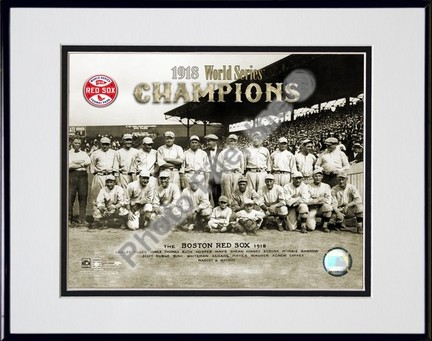 """Boston Red Sox """"1918 World Series Champions"""" Double Matted 8"""" X 10"""" Photograph in Black Anodized Alu"""