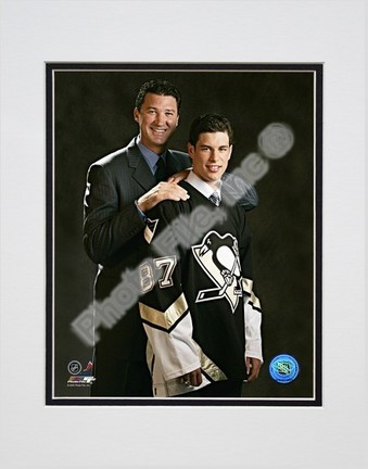 "Sidney Crosby and Mario Lemieux """"2005 Draft Day"""" Double Matted 8"""" X 10"""" Photograph (Unframed)"" PHF-AAGS131-33"
