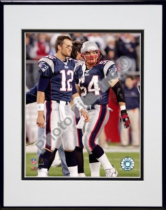 "Tom Brady and Tedy Bruschi ""New England Patriots 2005 Return"" Double Matted 8"" X 10"" Photograph in B"